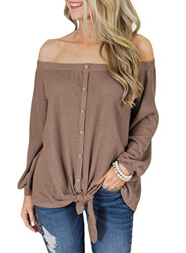4124e61f7f646 LOSRLY Women Off Shoulder Long Sleeve Front Tie Knot Knit Button Down  Shirts Casual Blouse and