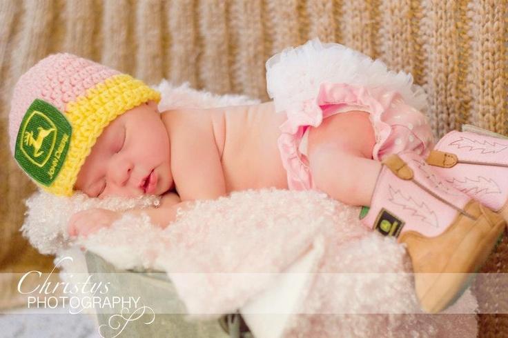 Crochet Baby John Deere Hat Newborn 0-3 mo 3-6 mo Photo Prop Tractor Farmer boy or girl SALE. $23.00, via Etsy.