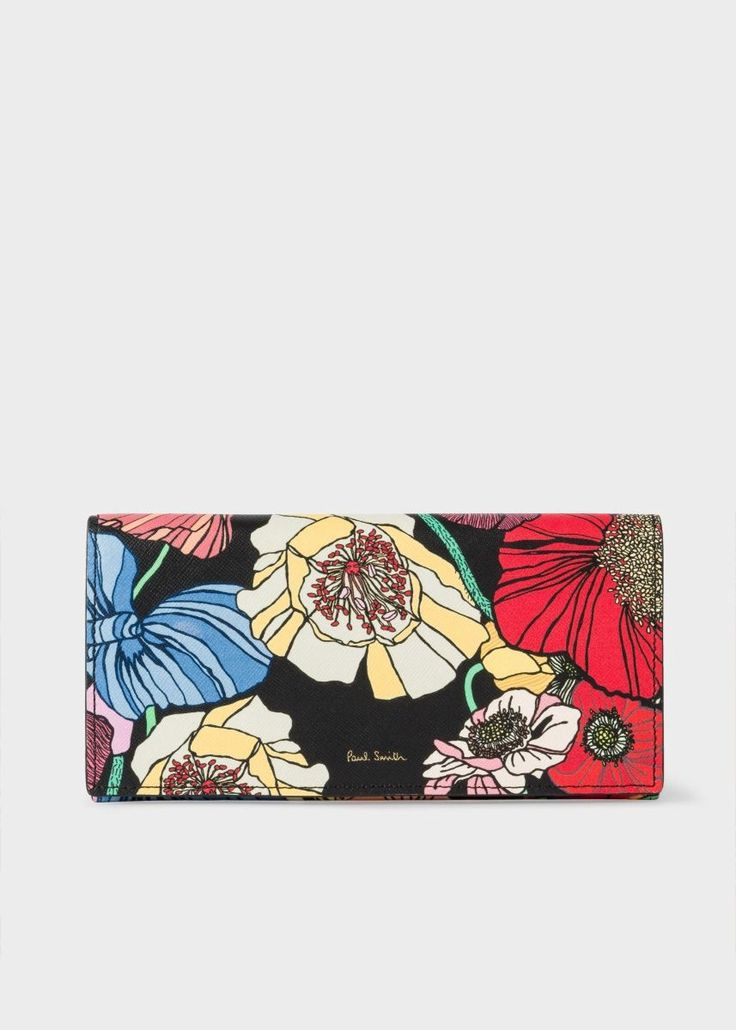 PAUL SMITH Women's 'Wild Garden' Print Leather Tri-Fold Purse. #paulsmith #