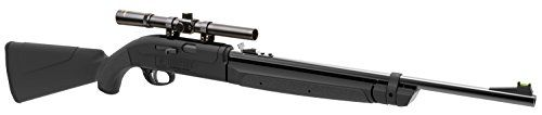 Crosman Legacy 1000 Single Shot, Variable Pump Air Rifle CLGY1000KT  Velocity: up to 1000 FPS (alloy pellets)/up to 800 FPS BBs  Rifled steel barrel  All weather synthetic stock and forearm  Fiber optic front sight  Safety glasses, 4x15mm scope