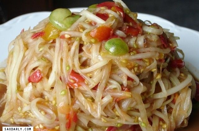 Lao Green Papaya Salad recipe - with Pork Rinds to garnish! YUM! #Salad #PorkRinds
