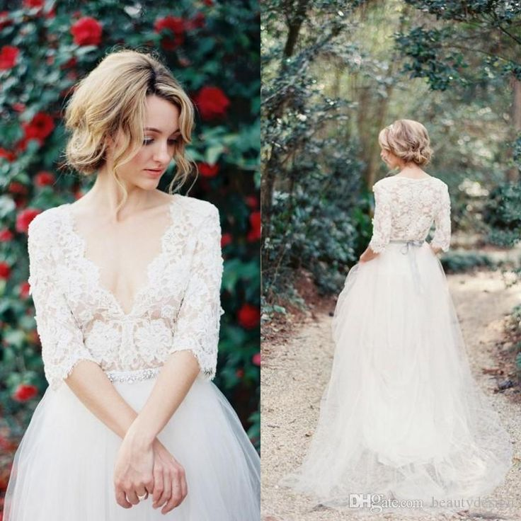 2016 Romantic Country Vintage Modest Lace Wedding Dresses With Half Sleeves Plunging Neckline Beading Sash Tulle A Line Bridal Gowns Cheap Vintage Wedding Dresses Gowns On Sale From Beautydesign, $149.29| Dhgate.Com