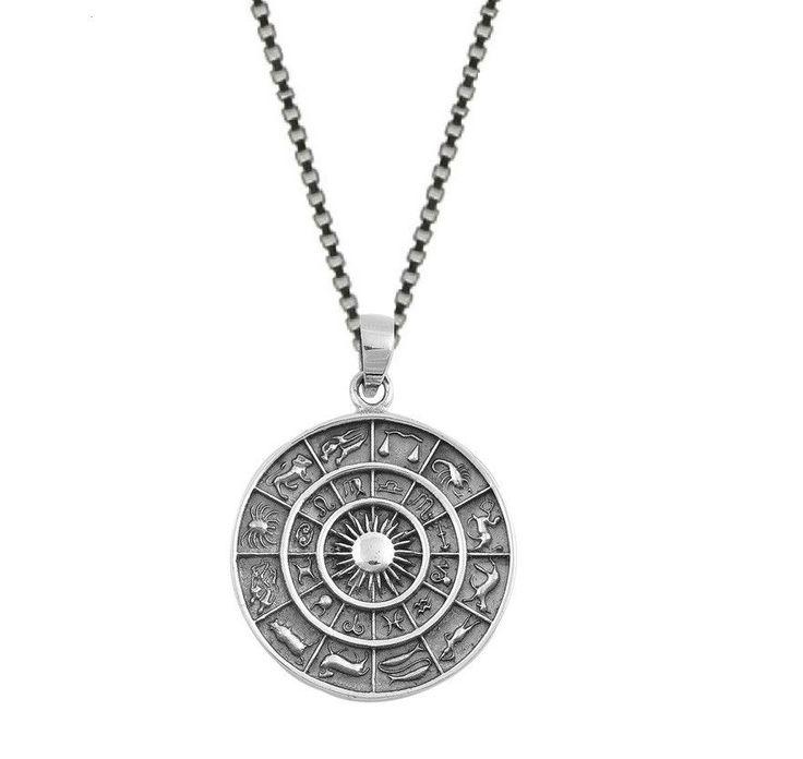 Sterling Silver Zodiac Calendar Sun Pendant Necklace (18 Inch)