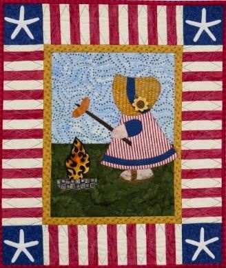 """""""Sunbonnet Sue at the BBQ"""" from A Year in the Life of Sunbonnet Sue by Darra Williamson and Christine Porter"""