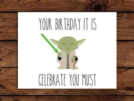 Star Wars Birthday Card Printable // Yoda by SomebodyLovedShop, $2.00