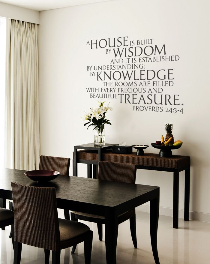 A house is built by wisdom and it is established by understanding; by knowledege the rooms are filled with every precious and beautiful treasure. Proverbs 24:3-4 Dining Room Wall Decal