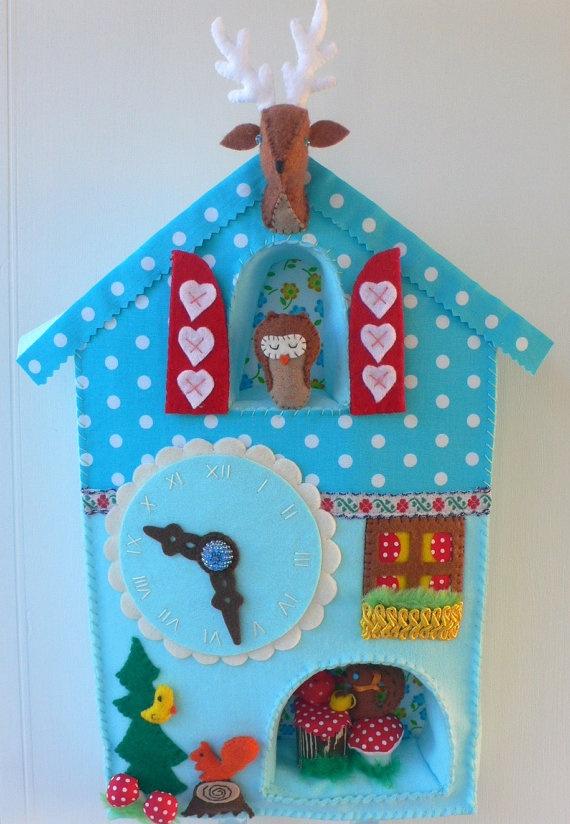 Felt Cuckoo Clock.: Blue Felt, Adorable Felt, Felt Cuckoo, Felt Clocks, Fabrics Pockets, Kids Crafts, Cuckoo Clocks, Crafts Felt, Large Blue