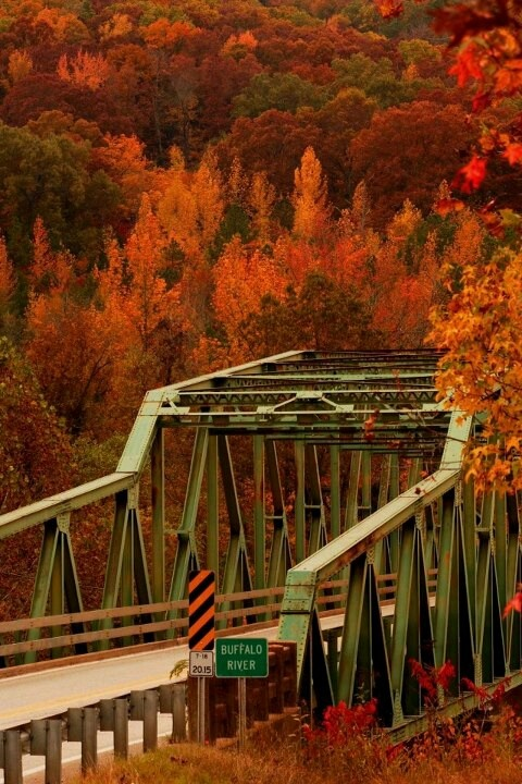 """Memories of my youth. I was the Ranger Station Attendant here when I was just 17. It was a """"tough"""" job, but someone had to do it. :) The Buffalo River Bridge in Pruitt, Arkansas"""