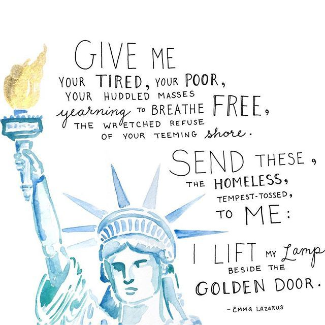 """#RefugeesWelcome #NoBanNoWall """"Give me your tired, your poor, your huddled masses yearning to BREATHE FREE, the wretched refuse of your teeming shore. Send these, the homeless, tempest-tossed, to me: I lift my lamp beside the golden door."""" - Emma Lazarus"""