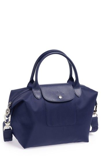 Longchamp Small Le Pliage Neo Nylon Tote Blue Bags Leather Hand
