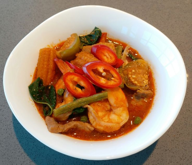 My husband loves Thai food. He loves my Tom Yum Goong the most. So I thought I'd make something new from Thailand to add some variety. This dish is a traditional Thai recepie which combines a…