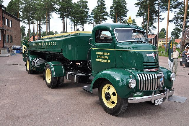 1942 Chevrolet COE tractor and semi tanker, BP colors.  Photo by saabrobz, via Flickr