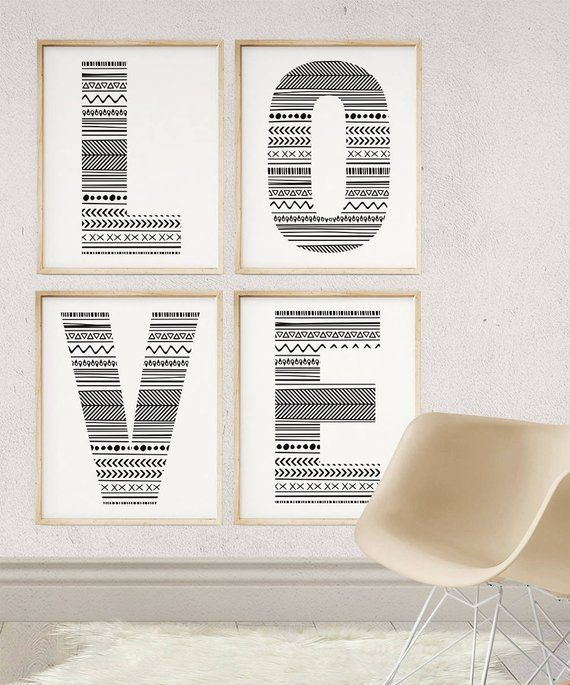 Letter Wall Art Baby Name Letters Wall Initials Decor Monogram