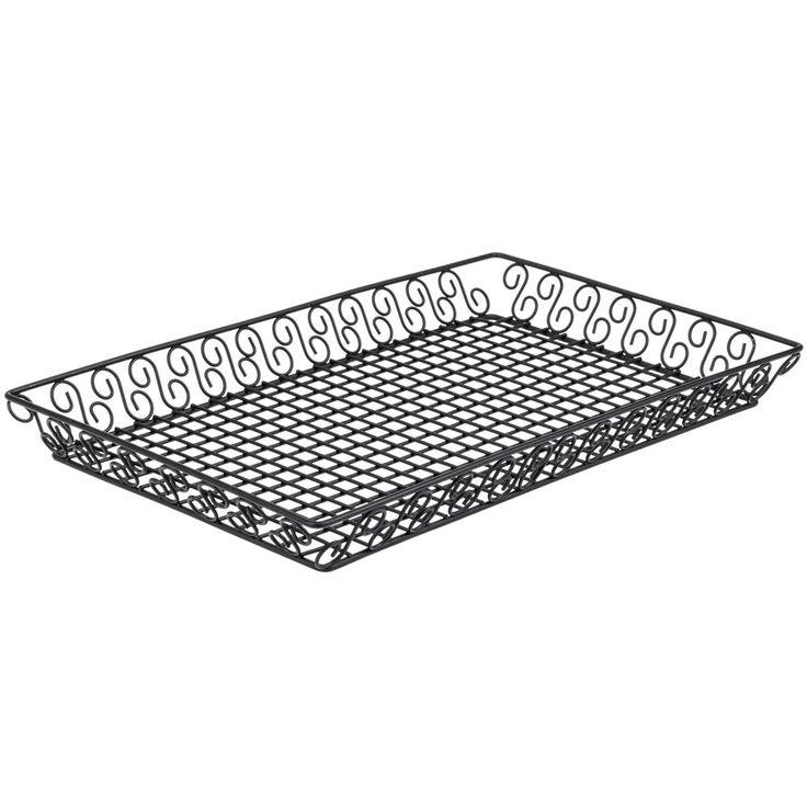 "American Metalcraft SBBL13202 Wrought Iron Rectangular Scroll Pastry Basket - 20"" x 13"" x 2"""