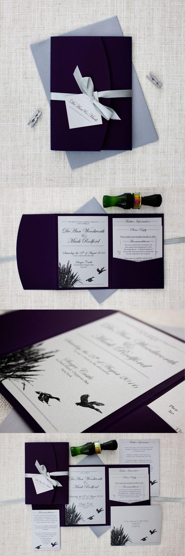 Deep Purple and Silver Duck Shooting Pocketfold Wedding Invitations http://bemyguest.co.nz/archives/item/darling-ducks-purple-pocketfold-wedding-invitation/