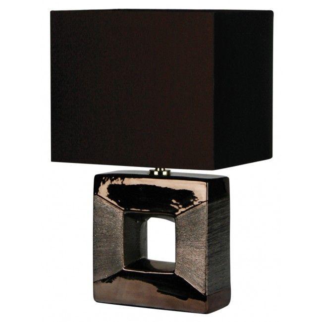 Era Square Cutout Complete Table Lamp In Bronze Oriel