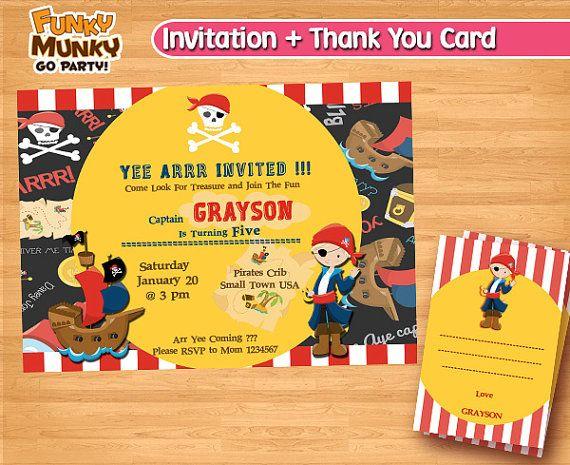 Pirate Birthday Invitation  Pirate Party  by funkymunkygoparty