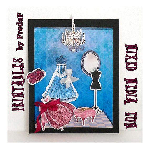 Mixed Media DIY Kit printable collage sheets, fashion, antique clothing, princess doll house furniture, dressform wall paper vintage ,3 jpg