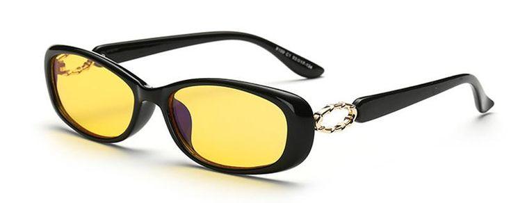 SHAUNA Anti-Blue Ray Women Computer Glasses Classic Radiation Proof Blocking Glare Men Small Oval Yellow Lens Eyeglasses UV400