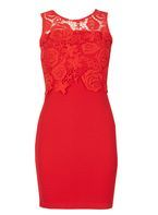 Womens *Tenki Red Lace Bodycon Dress- Red