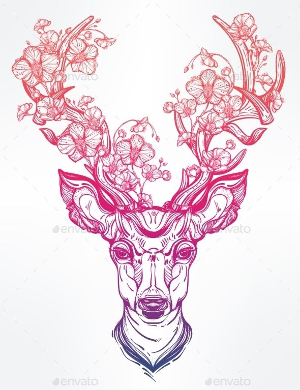 Deer Head With Flowers  In Line Art Style.