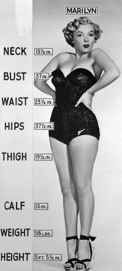 """Marilyn's measurements! I feel like WAY too many ppl try to use her as an example and say that she was a size 12  she wasn't stick thin, but Marilyn was indeed a true """"curvy"""" woman! 23 1/2 inch waist!!! That's insanely tiny!!! Pre Gwen my waist was 26 inches!!! But she also had the boobs  butt to balance her out! Modern sizing is not was it was 50 years ago!"""