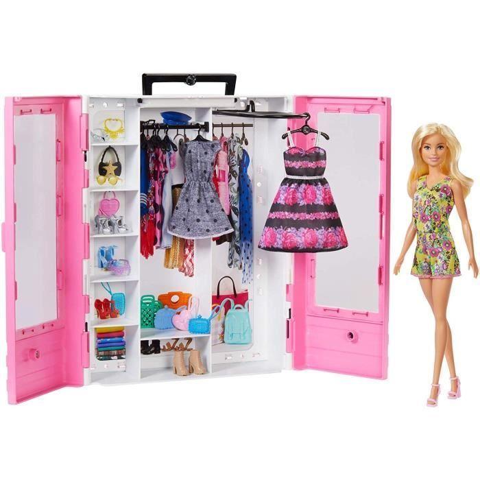 Barbie Fashionistas Le Dressing De Reve Rose Et Poupee Blonde Fourni Avec Cintres Et Plus De 15 Accessoires Jouet Pour Enfant In 2020 Pink Closet Ultimate Closet Barbie