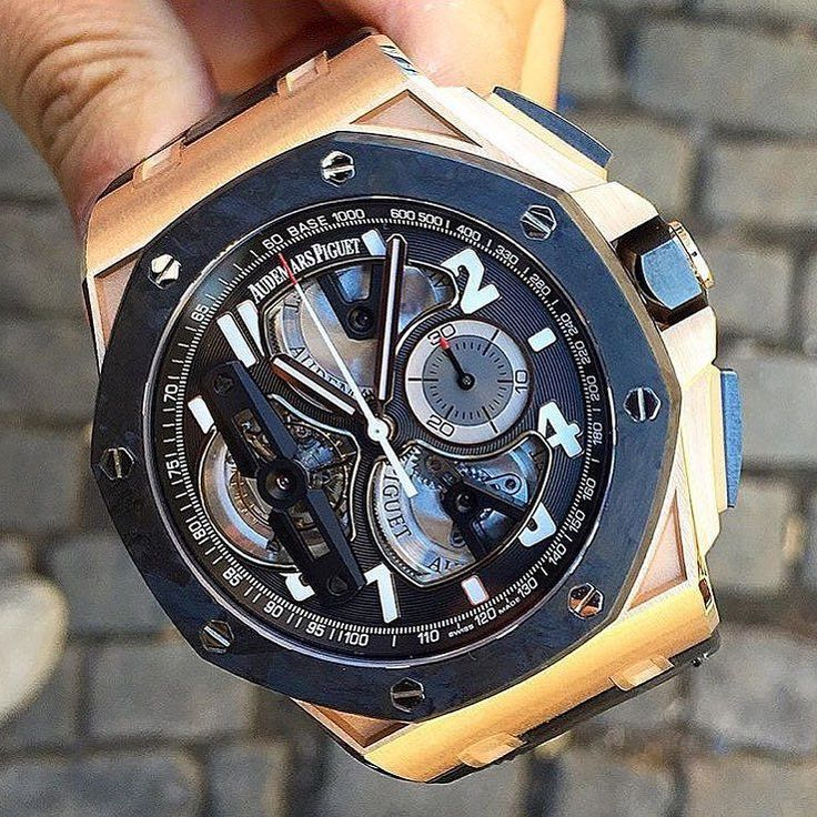 Audemars Piguet Royal Oak Offshore Tourbillon Concept In Rose Gold. Retails at around $200000. Photo by @luxurywatchlife #luxurywristwatches #wristwatch #chronograph #timepiece #luxurytimepieces #wristwatchlover #tourbillon #concept #audemarspiguet by wristwatchlover