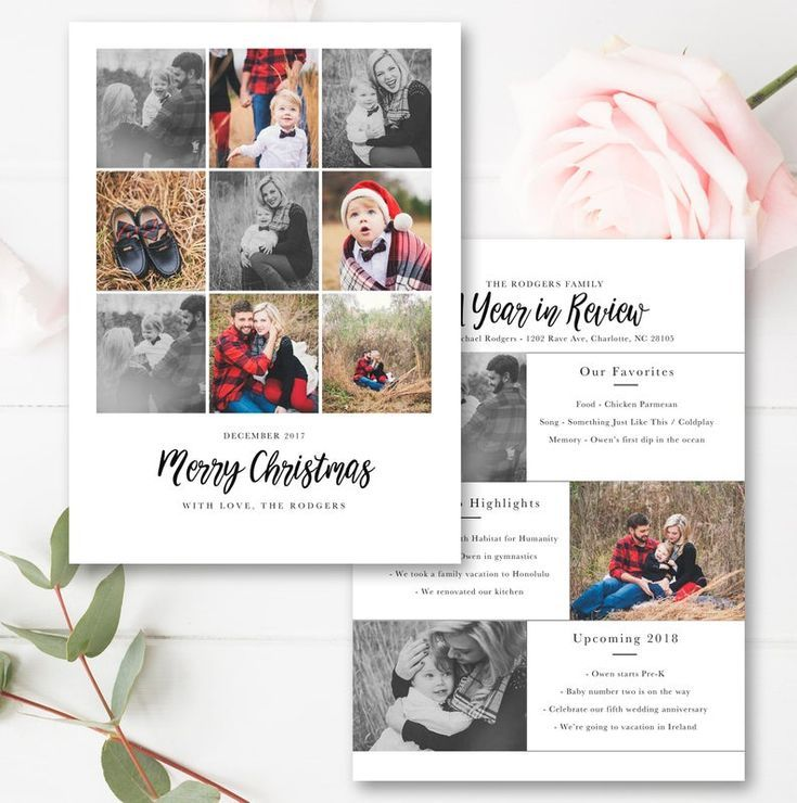 Year In Review Christmas Card Template 5x7 Photo Card Free Etsy Christmas Card Template Christmas Cards Postcard Template Free