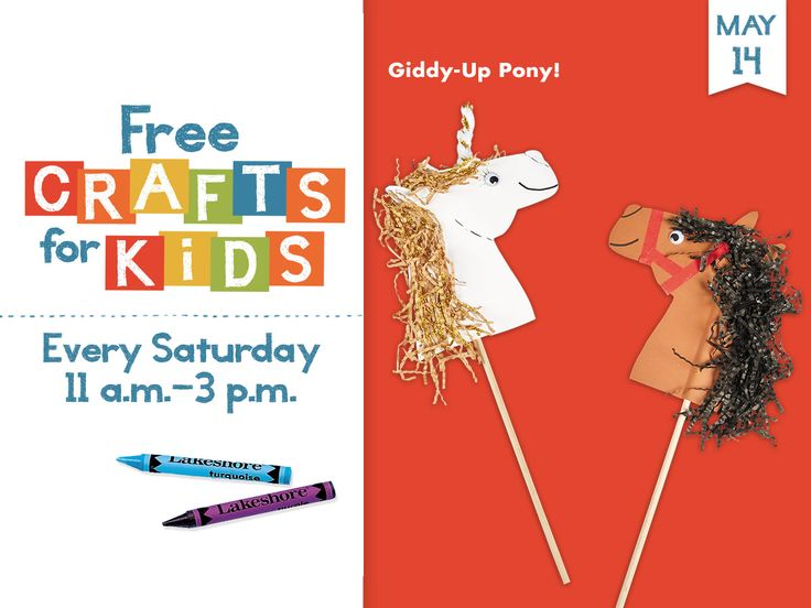 #FreeCraftsforKids at all Lakeshore Stores every Saturday, 11 a.m. - 3 p.m. Giddy-Up Pony!