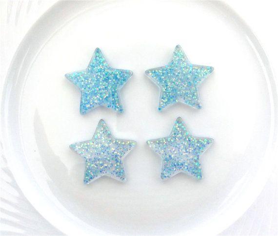 4  Blue Glitter Stars Resin Charms Pendants  by CraftyMissBettie