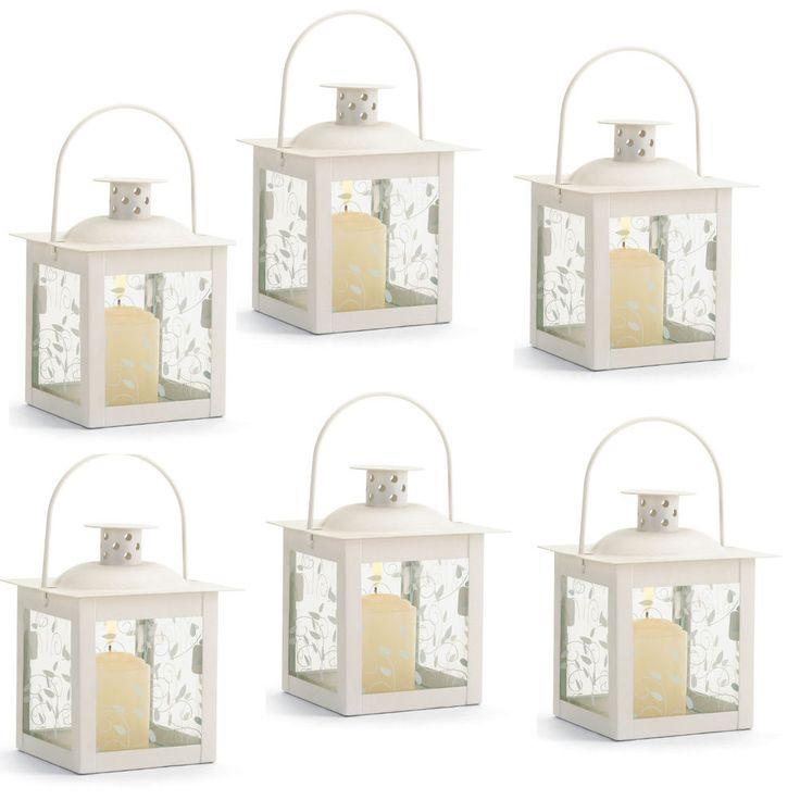 Set of 6 Small Creamy White Candle Lanterns Vine Design Glass Panels Centerpiece #NA
