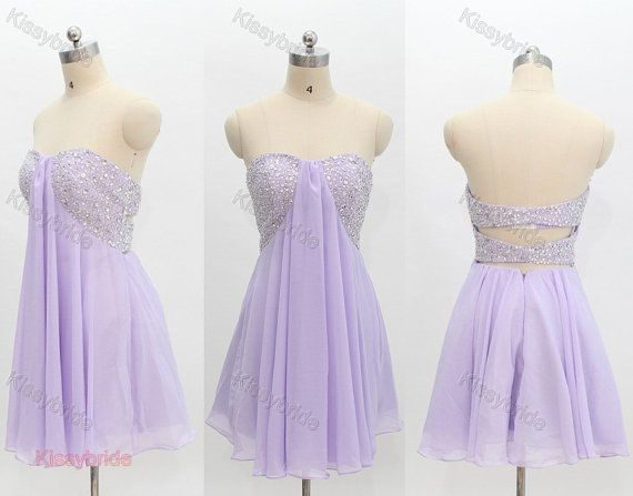 Short lavender party dress...don't know if I like the part of fabric hanging over the glitter, but it could work