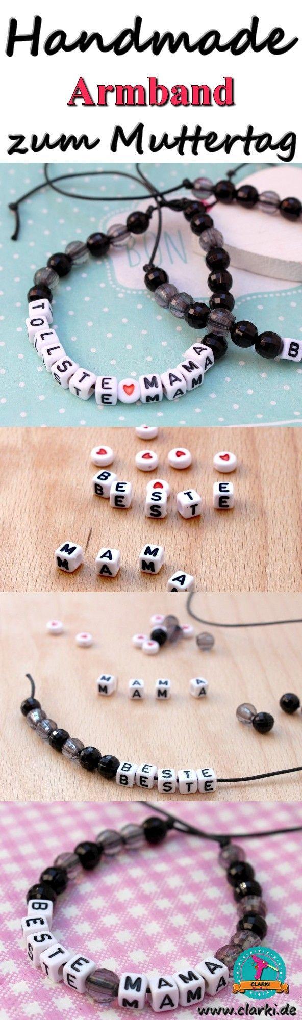 Mach deine Mama mit diesen 3 DIY-Ideen am glücklichsten! Aus Buchstabenperlen, Herzperlen, Lederschnur und Co. wird ein zauberhaftes Armband für deine Mom!