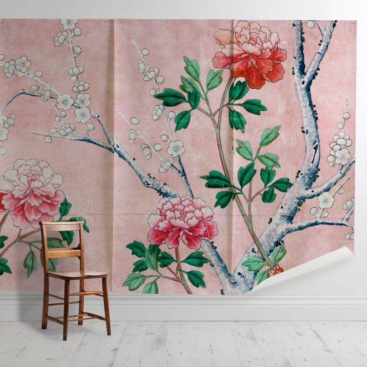 'Pink Floral Wallpaper' Mural - V&A Collection | Shop Cushions & Wall Murals at surfaceview.co.uk