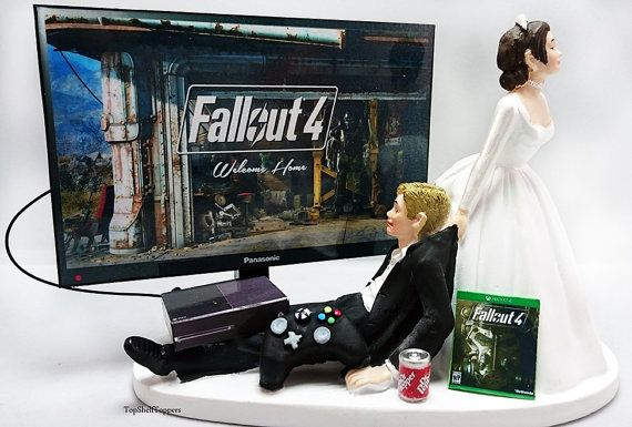 Fallout Wedding Cake Topper Video Gamer Bride by TopShelfToppers