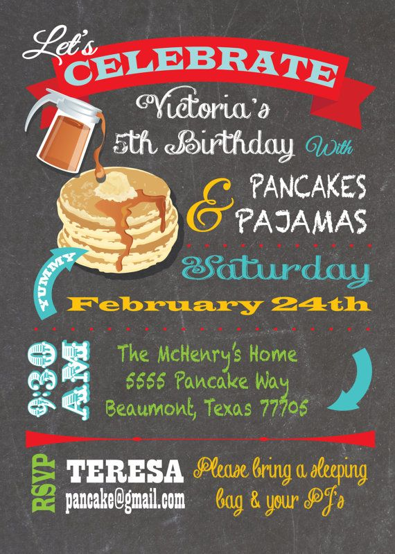 88 best party pajama and pancakes images on pinterest birthday chalkboard pancakes and pajamas birthday party invite filmwisefo Gallery