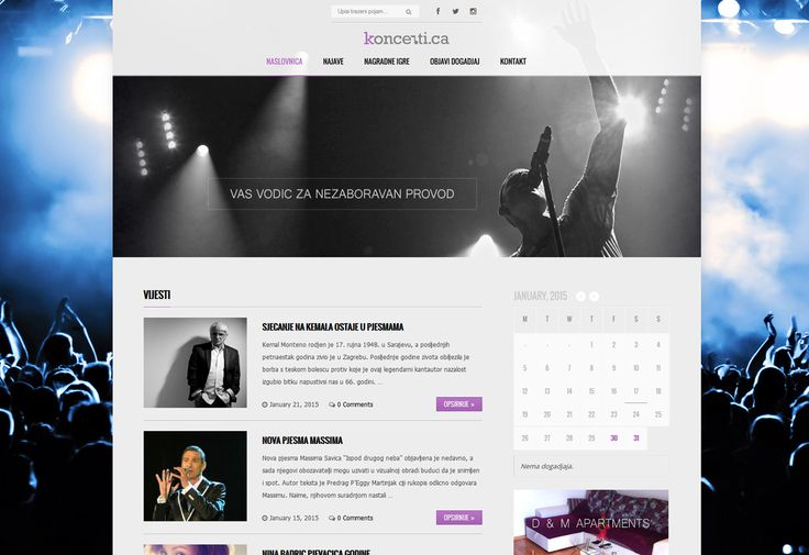 2015 / Website design for music web portal that promotes Croatian concerts in Canada. #webdesign #webdevelopment #eggsmedia #websitedesign #music #concerts #events