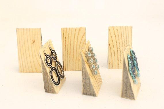 Wood Jewelry Display SET of 6 Wood Earring by ArrayandDisplay
