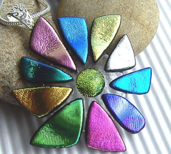 Dichroic Pendant  Fused Glass Jewelry  by TremoughGlass on Etsy, $30.00