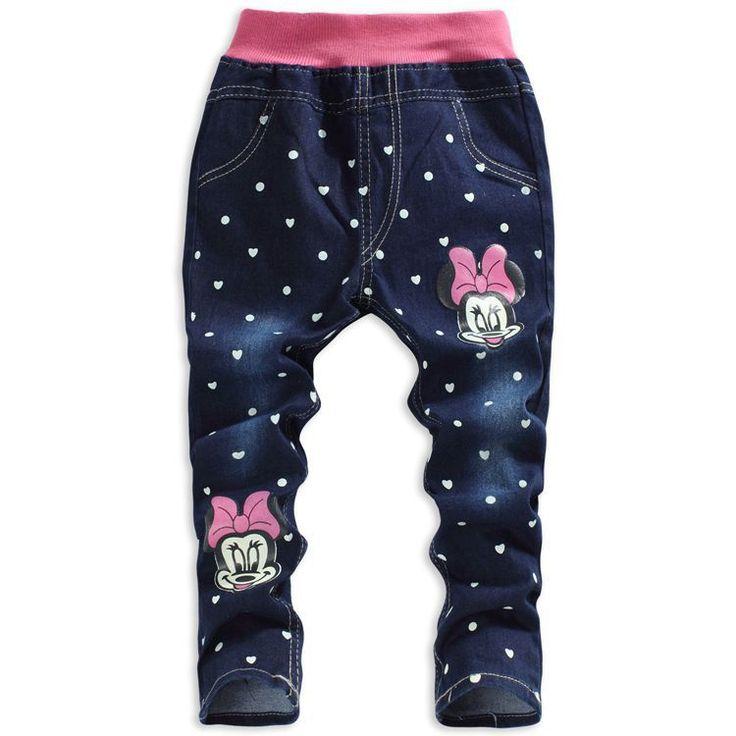 Милый девочки джинсы свободного покроя дети одежда прямой комикс минни узор в горошек девочки брюки свободного покроя девочки деним брюки