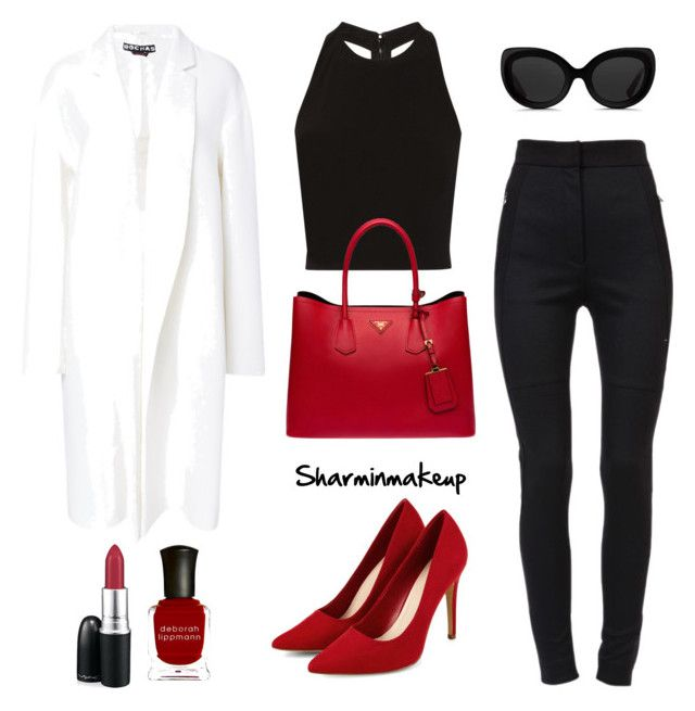 Black,white and red semi formal outfit. by sharminmakeup on Polyvore featuring polyvore, fashion, style, Alice + Olivia, Rochas, Dolce&Gabbana, Prada, 3.1 Phillip Lim, MAC Cosmetics and Deborah Lippmann