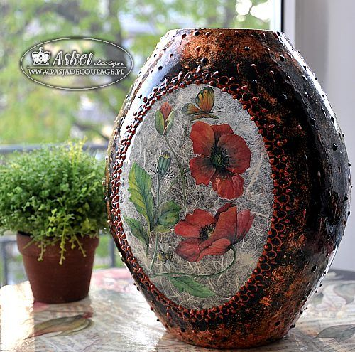 najeżony wazon- decoupage on glass vase gilding decoupage