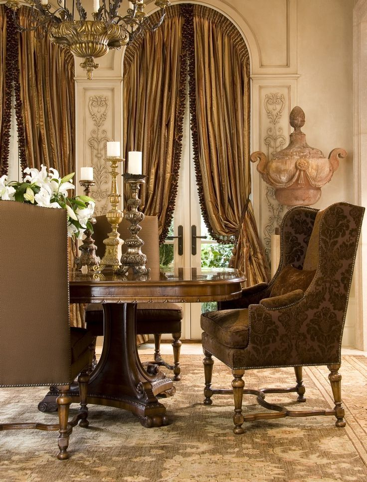This Is Our Formal Dining Room I Love The Ornate Cream Walls Brown Velvet Chairs And Matching Window Treatments
