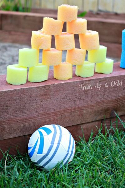 Build a tower with pool noodle blocks then get creative with ways to knock them down!  Inexpensive gross motor play that is fun for all ages!  It's amazing how a simple tweak or  alteration on a favorite toy can make a whole new game and experience.