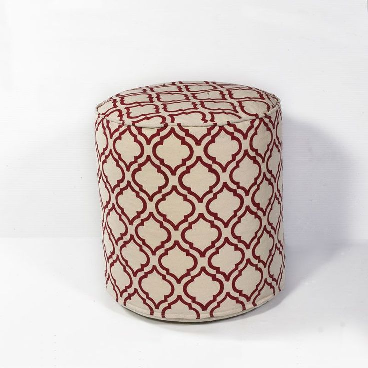 KAS Rugs Pouf 828 Ivory and Red Arabesque Hand-Made 100% Cotton Pouf with EPS Pe Ivory and Red Home Decor Pillows Poufs