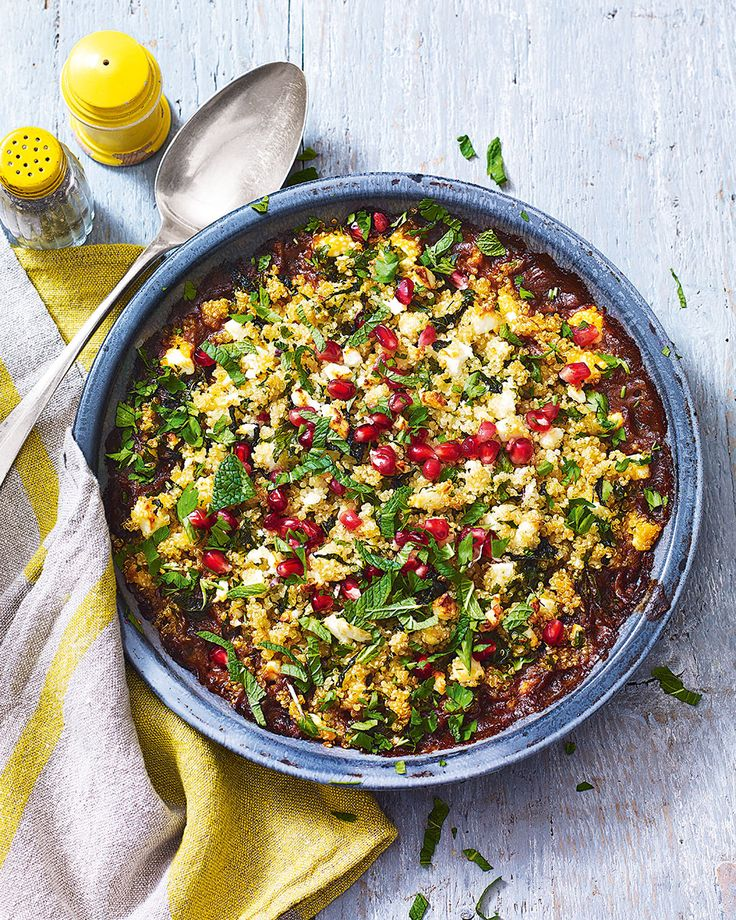 Who said a crumble has to be savoury? This one combines spiced lamb with a crunchy quinoa topping for an impressive Middle Eastern-style dish with a difference.