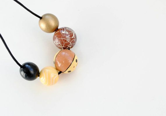 OOAK Big wooden beads necklace yellow black gold by elfinadesign