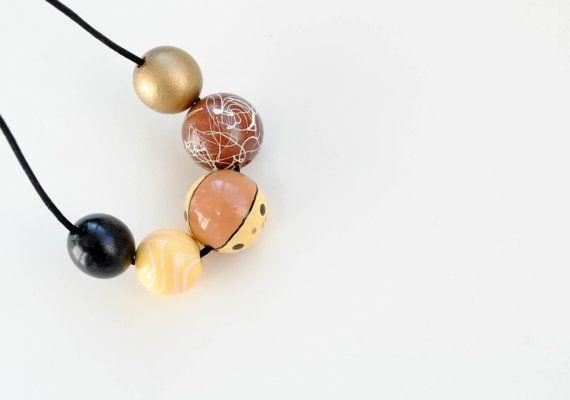 OOAK Big wooden beads necklace yellow black gold by elfinadesign