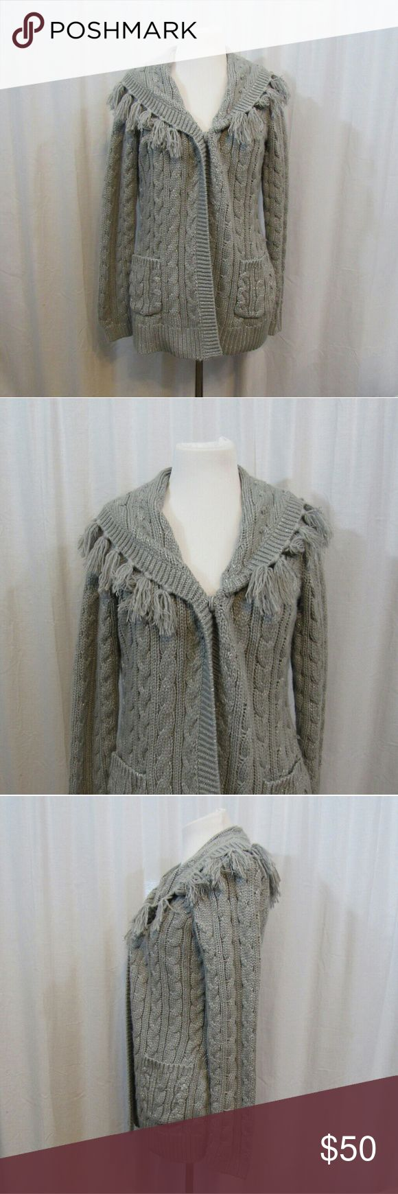 "Chico's Additions Gray Silver Cardigan 0 M Brand: Additions by Chico's Size: 0 Material: 84% Acrylic 10% Polyester 6% Metallic Care Instructions: Hand Wash  Bust: 42"" Sleeves: 24"" Length: 27""  All clothes are in excellent used condition. No tears, stains or holes unless otherwise I noted.   P86 Chico's Sweaters Cardigans"